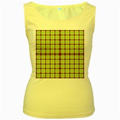 Geometric Tartan Pattern Square Women s Yellow Tank Top