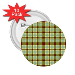 Geometric Tartan Pattern Square 2.25  Buttons (10 pack)