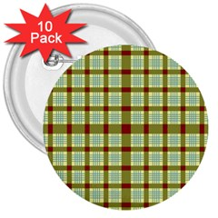 Geometric Tartan Pattern Square 3  Buttons (10 pack)