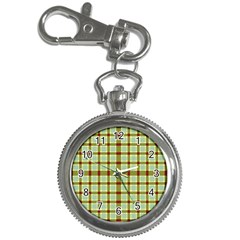 Geometric Tartan Pattern Square Key Chain Watches