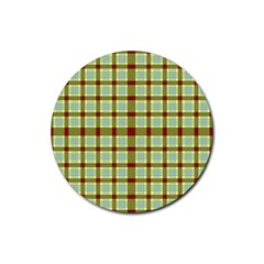 Geometric Tartan Pattern Square Rubber Round Coaster (4 pack)