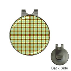 Geometric Tartan Pattern Square Hat Clips with Golf Markers