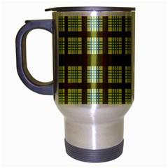 Geometric Tartan Pattern Square Travel Mug (Silver Gray)