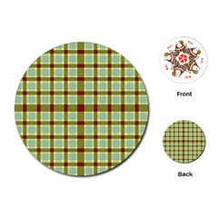Geometric Tartan Pattern Square Playing Cards (Round)