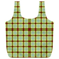 Geometric Tartan Pattern Square Full Print Recycle Bags (L)