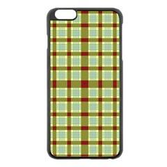 Geometric Tartan Pattern Square Apple iPhone 6 Plus/6S Plus Black Enamel Case