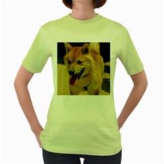 4 Shiba Inu Women s Green T-Shirt