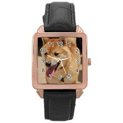 4 Shiba Inu Rose Gold Leather Watch