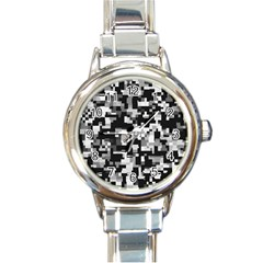Noise Texture Graphics Generated Round Italian Charm Watch