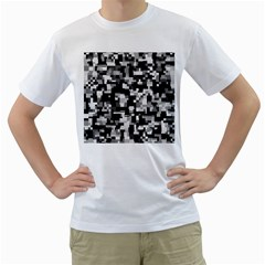 Noise Texture Graphics Generated Men s T-Shirt (White) (Two Sided)