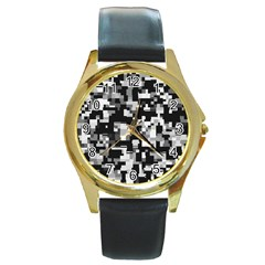 Noise Texture Graphics Generated Round Gold Metal Watch