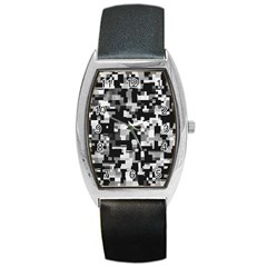Noise Texture Graphics Generated Barrel Style Metal Watch