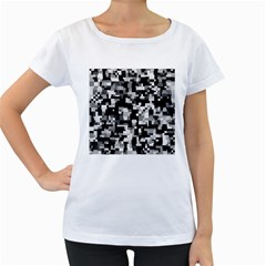 Noise Texture Graphics Generated Women s Loose-Fit T-Shirt (White)