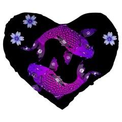 Koi Carp Fish Water Japanese Pond Large 19  Premium Flano Heart Shape Cushions