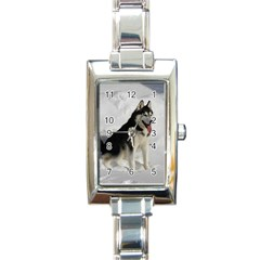 Siberian Husky Sitting in snow Rectangle Italian Charm Watch