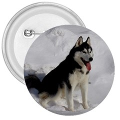 Siberian Husky Sitting in snow 3  Buttons