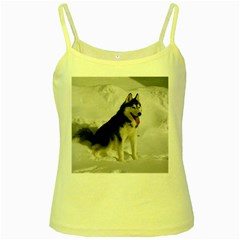 Siberian Husky Sitting in snow Yellow Spaghetti Tank