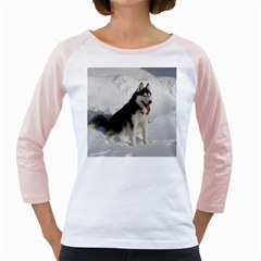 Siberian Husky Sitting in snow Girly Raglans