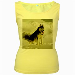 Siberian Husky Sitting in snow Women s Yellow Tank Top