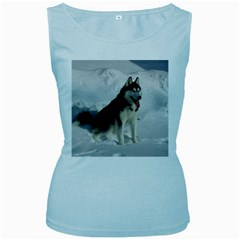Siberian Husky Sitting in snow Women s Baby Blue Tank Top