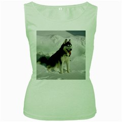 Siberian Husky Sitting in snow Women s Green Tank Top