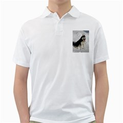 Siberian Husky Sitting in snow Golf Shirts