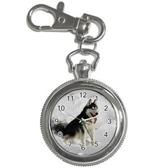 Siberian Husky Sitting in snow Key Chain Watches