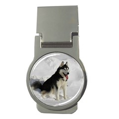 Siberian Husky Sitting in snow Money Clips (Round)