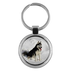 Siberian Husky Sitting in snow Key Chains (Round)