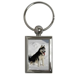 Siberian Husky Sitting in snow Key Chains (Rectangle)