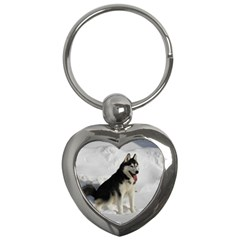 Siberian Husky Sitting in snow Key Chains (Heart)