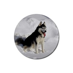 Siberian Husky Sitting in snow Rubber Coaster (Round)