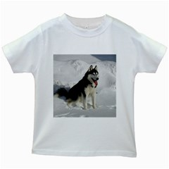 Siberian Husky Sitting in snow Kids White T-Shirts