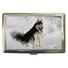 Siberian Husky Sitting in snow Cigarette Money Cases