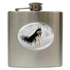 Siberian Husky Sitting in snow Hip Flask (6 oz)