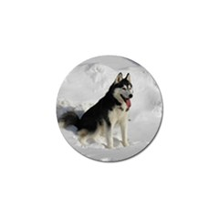 Siberian Husky Sitting in snow Golf Ball Marker (10 pack)