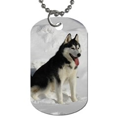Siberian Husky Sitting in snow Dog Tag (Two Sides)