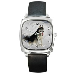 Siberian Husky Sitting in snow Square Metal Watch