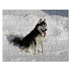 Siberian Husky Sitting in snow Rectangular Jigsaw Puzzl