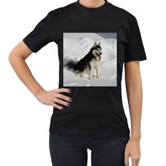 Siberian Husky Sitting in snow Women s T-Shirt (Black) (Two Sided)