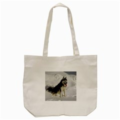 Siberian Husky Sitting in snow Tote Bag (Cream)