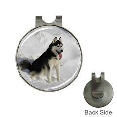 Siberian Husky Sitting in snow Hat Clips with Golf Markers