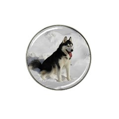 Siberian Husky Sitting in snow Hat Clip Ball Marker
