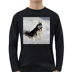 Siberian Husky Sitting in snow Long Sleeve Dark T-Shirts