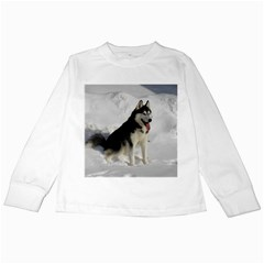 Siberian Husky Sitting in snow Kids Long Sleeve T-Shirts