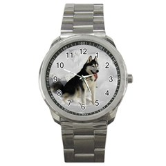 Siberian Husky Sitting in snow Sport Metal Watch