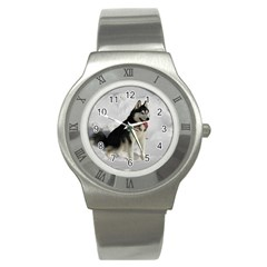 Siberian Husky Sitting in snow Stainless Steel Watch