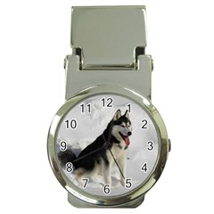 Siberian Husky Sitting in snow Money Clip Watches