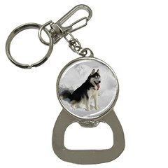 Siberian Husky Sitting in snow Button Necklaces