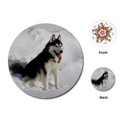 Siberian Husky Sitting in snow Playing Cards (Round)